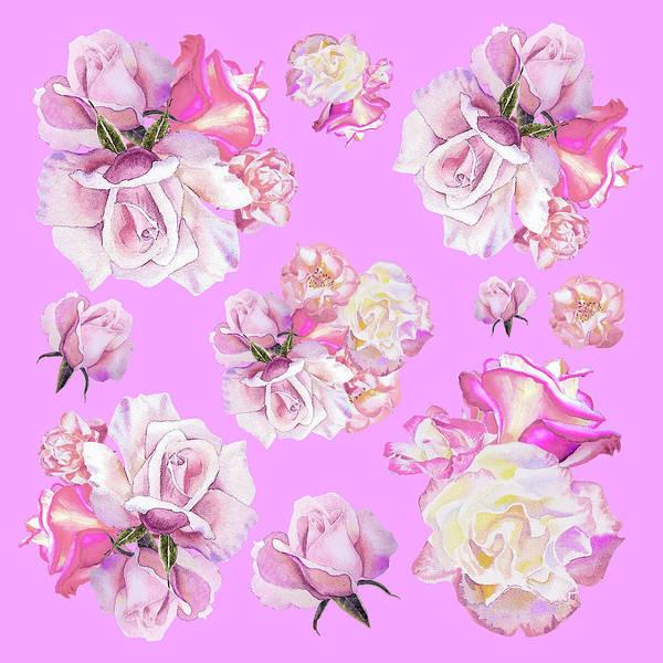 Full Bloom Painting - Watercolor Roses Purple Dance by Irina Sztukowski