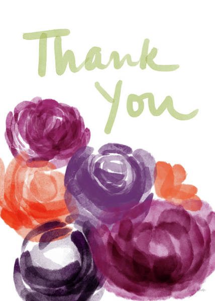 Wall Art - Painting - Watercolor Roses Thank You- Art By Linda Woods by Linda Woods
