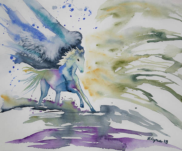 Painting - Watercolor - Running Horse by Cascade Colors