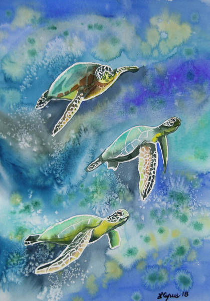 Painting - Watercolor - Sea Turtles Swimming by Cascade Colors