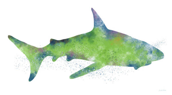 Blue Fish Painting -  Watercolor Shark 2-art By Linda Woods by Linda Woods