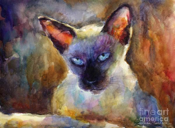Siamese Cat Painting - Watercolor Siamese Cat Painting by Svetlana Novikova