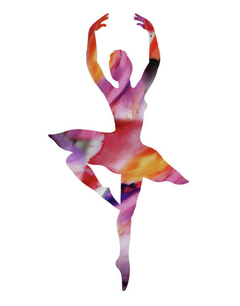 Wall Art - Painting - Watercolor Silhouette Dancing Ballerina II by Irina Sztukowski