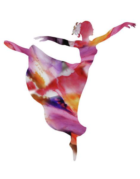 Wall Art - Painting - Watercolor Silhouette Dancing Ballerina IIi by Irina Sztukowski