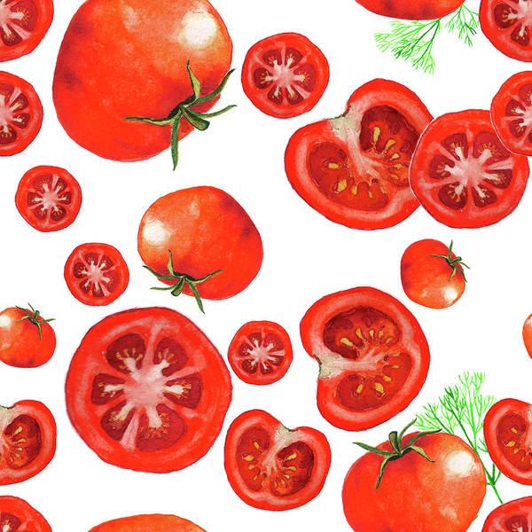 Organic Garden Drawing - Watercolor Sliced Tomatoes.  by Lyudmila Chetvertnykh