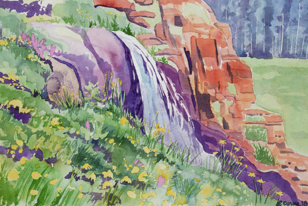 Painting - Watercolor - Small Waterfall In The Rockies by Cascade Colors