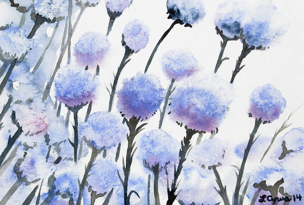 Painting - Watercolor - Snow-covered Seed Pods by Cascade Colors