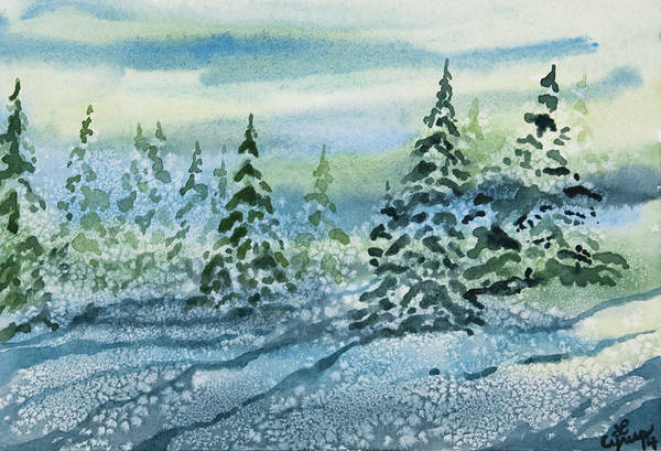 Painting - Watercolor - Snowy Winter Evening by Cascade Colors