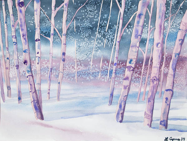Painting - Watercolor - Snowy Winter Forest by Cascade Colors