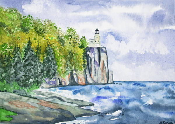 Painting - Watercolor - Split Rock Lighthouse by Cascade Colors