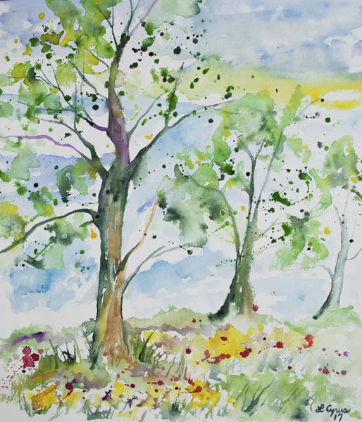 Painting - Watercolor - Spring Trees And Meadow by Cascade Colors