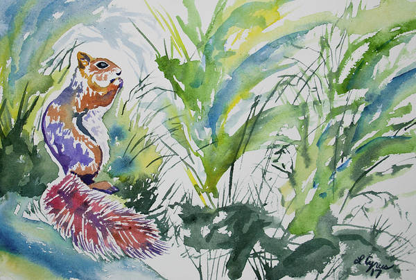 Painting - Watercolor - Squirrel With Plants by Cascade Colors