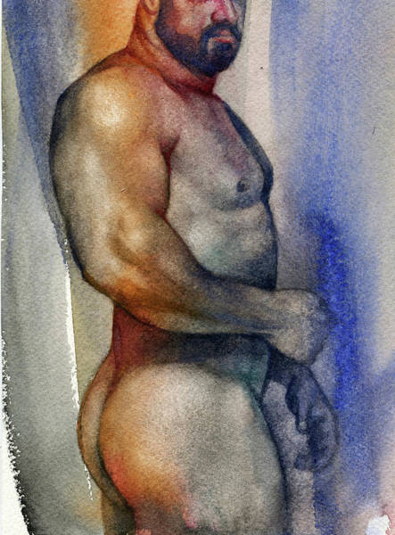 Naked Man Painting - Watercolor Study 9 by Chris Lopez