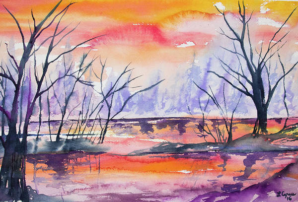 Painting - Watercolor - Sunrise At The Pond by Cascade Colors
