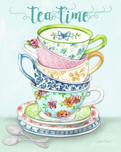 Teacup Painting - Watercolor Teacups-a by Jean Plout