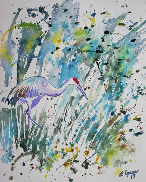 Painting - Watercolor - The Crane by Cascade Colors