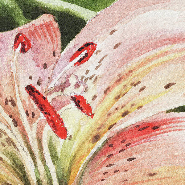 Painting - Watercolor Tiger Lily Close Up II by Irina Sztukowski