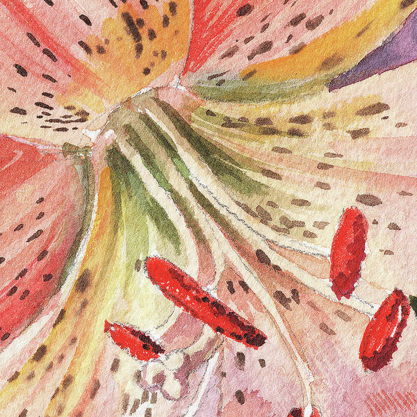 Painting - Watercolor Tiger Lily Close Up IIi by Irina Sztukowski