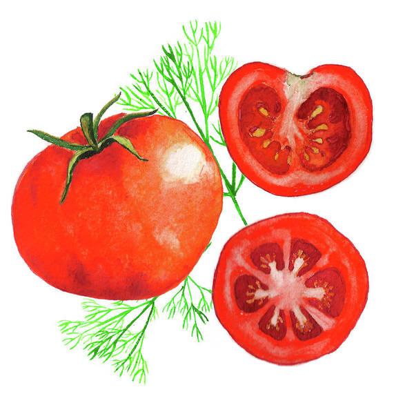 Juicy Drawing - Watercolor Tomatoes by Lyudmila Chetvertnykh