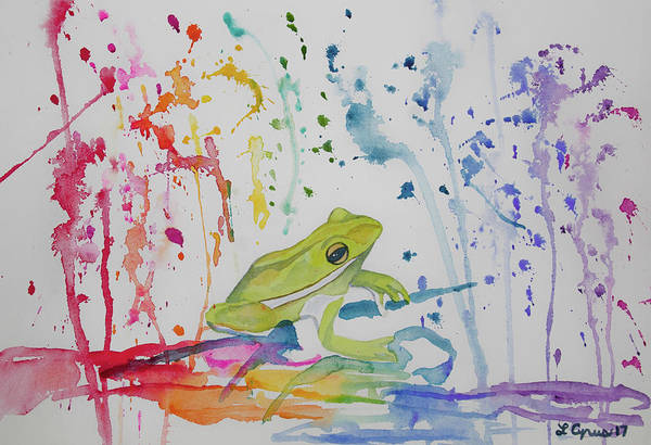 Painting - Watercolor - Tree Frog And Raindrops by Cascade Colors
