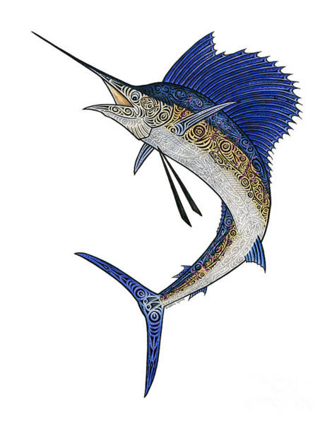 Wall Art - Mixed Media - Watercolor Tribal Sailfish by Carol Lynne
