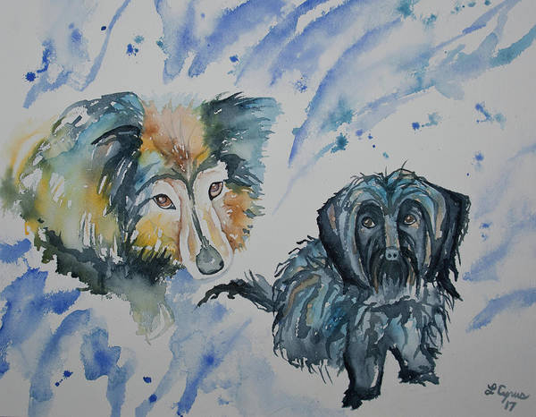 Painting - Watercolor - Two Dogs by Cascade Colors