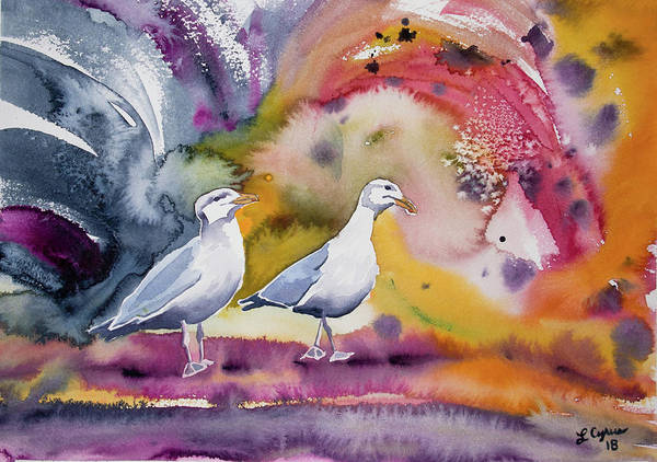 Painting - Watercolor - Two Gulls by Cascade Colors