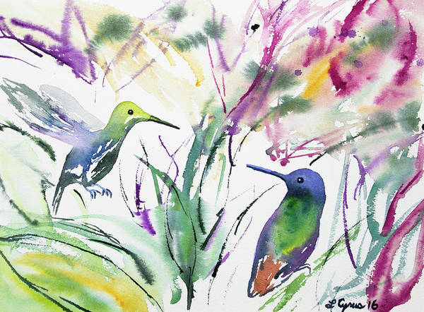 Painting - Watercolor - Two Hummingbirds by Cascade Colors