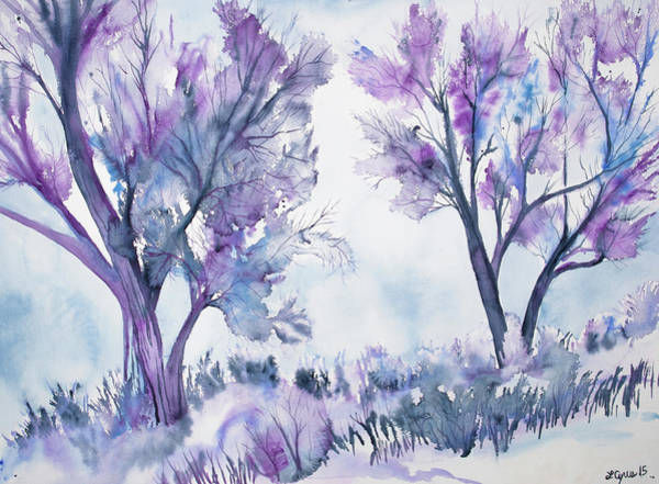 Painting - Watercolor - Two Trees In Wintry Landscape by Cascade Colors