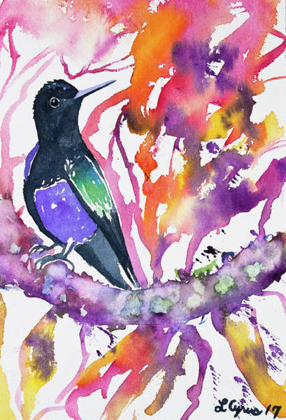 Painting - Watercolor - Velvet Purple Coronet With Colorful Background by Cascade Colors