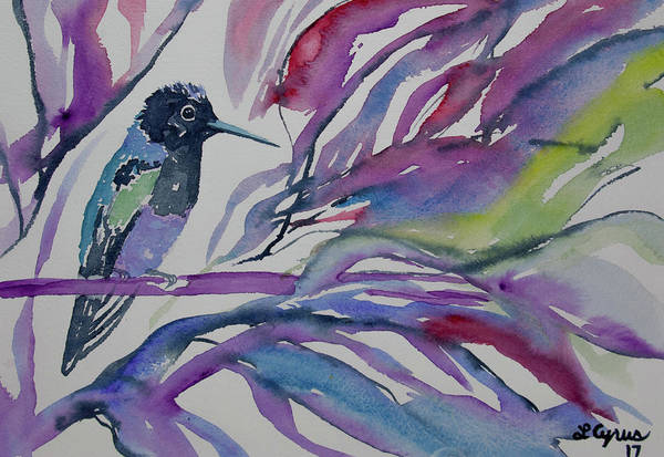Painting - Watercolor - Velvet Purple Coronet With Purple And Blue Background by Cascade Colors