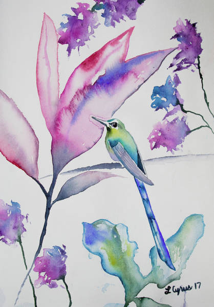 Painting - Watercolor - Violet-tailed Sylph At Rest by Cascade Colors