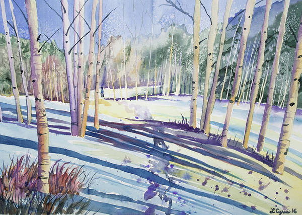 Painting - Watercolor - Walking Through The Winter Forest by Cascade Colors