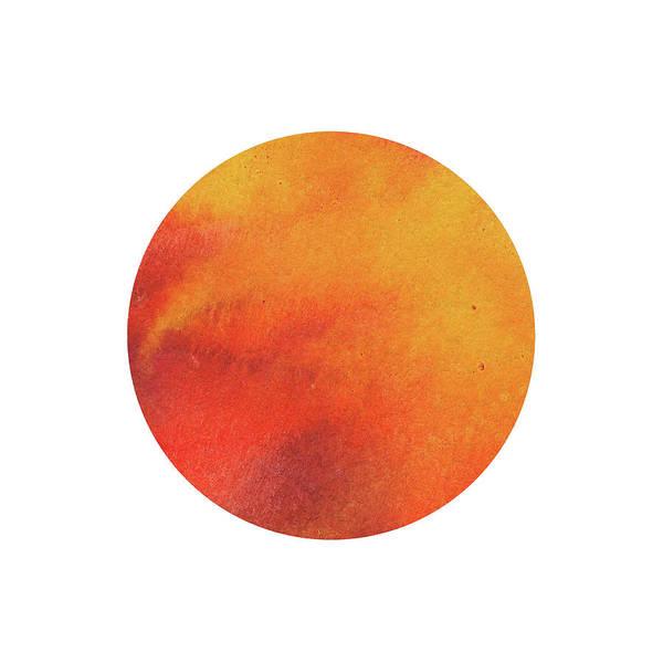 Painting - Watercolor Wash Vibrant Orange Circle  by Irina Sztukowski