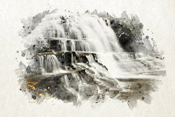 Mixed Media - Watercolor Waterfall Landscape Art by Christina Rollo