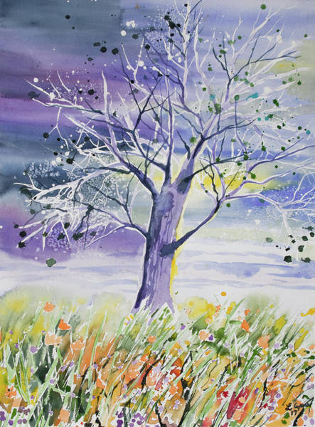 Painting - Watercolor - Whimsical Tree And Meadow by Cascade Colors