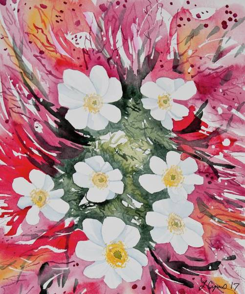Painting - Watercolor - White Flowers With Colorful Background by Cascade Colors