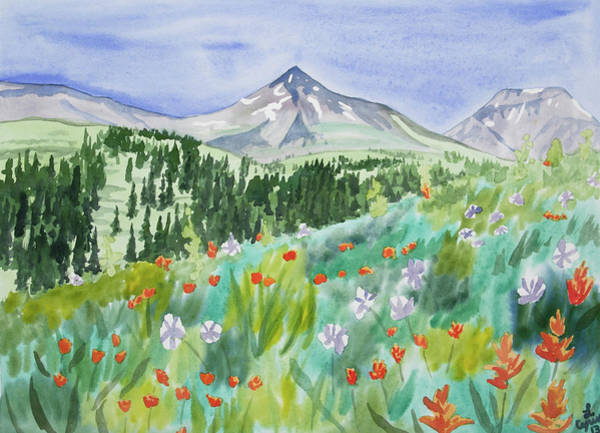 Painting - Watercolor - Wildflowers And Mountain by Cascade Colors