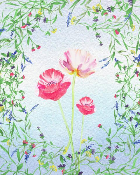 Wedding Invitation Wall Art - Painting - Watercolor Wildflowers And Pink Poppies by Irina Sztukowski