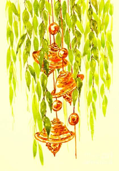 Wind Chime Painting - Watercolor Wind Chime by Kavita Kamble