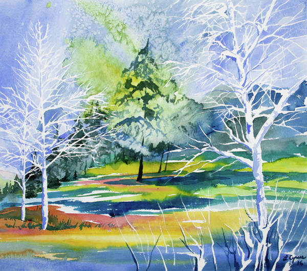 Painting - Watercolor - Winter Aspen Impression by Cascade Colors