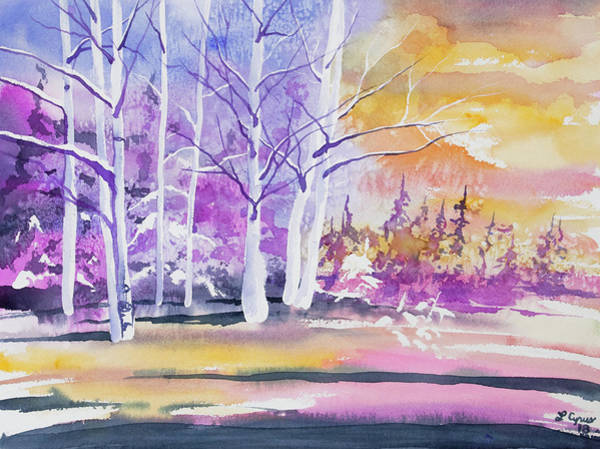 Painting - Watercolor - Winter Aspen Sunrise by Cascade Colors