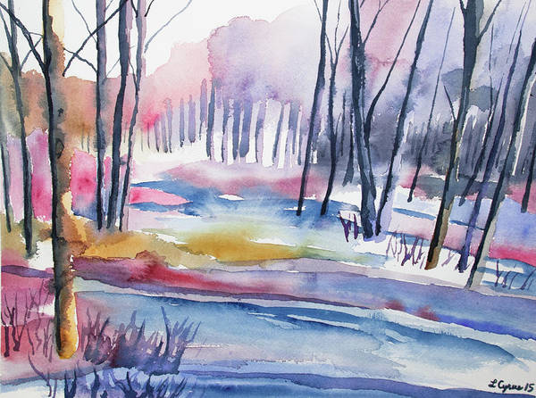 Painting - Watercolor - Winter Forest by Cascade Colors
