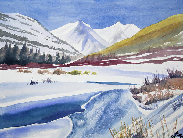 Painting - Watercolor - Winter Landscape Near Crested Butte by Cascade Colors