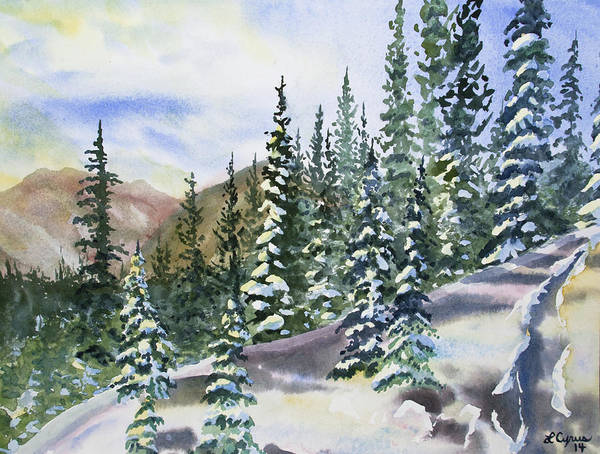 Painting - Watercolor - Winter Snow-covered Landscape by Cascade Colors