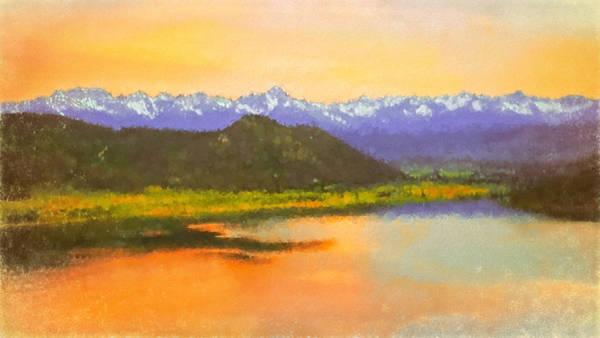 Digital Art - Watercolored Sunset by Rick Wicker