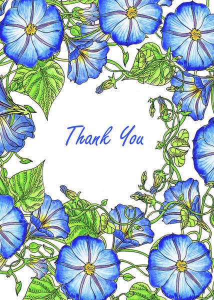 Painting - Watercolour Morning Glory Thank You Card by Irina Sztukowski