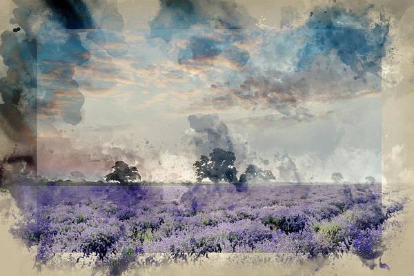 Lavender Mist Wall Art - Photograph - Watercolour Painting Of Beautiful Dramatic Misty Sunrise Landsca by Matthew Gibson