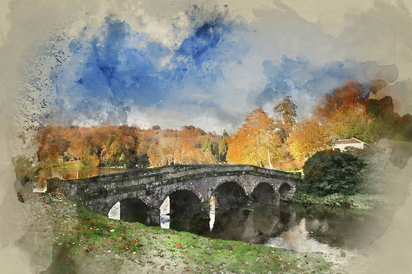 Stourhead Photograph - Watercolour Painting Of Bridge Over Main Lake During Autumn. by Matthew Gibson