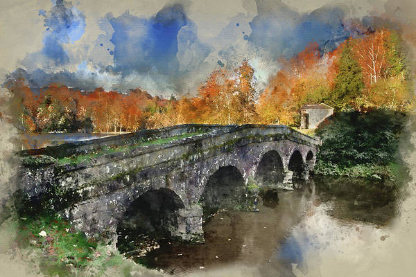 Stourhead Photograph - Watercolour Painting Of Bridge Over Main Lake In Stourhead Garde by Matthew Gibson